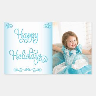 青いRectanleのカスタムなクリスマスの写真のステッカー 長方形シール