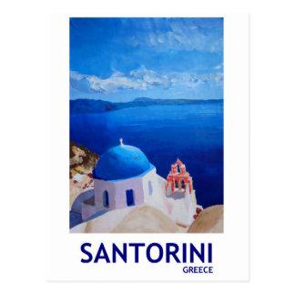 青いSantorini、ギリシャ- Oiaからの眺め ポストカード