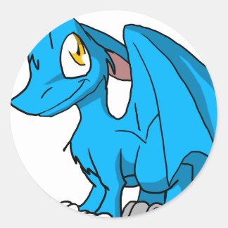 青いSDの毛皮で覆われたドラゴンのステッカー ラウンドシール