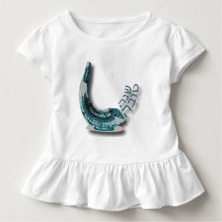 青いShofer Shana Tovaのひだの幼児の服 トドラーTシャツ