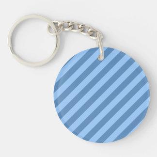 青いStripyパターン キーホルダー