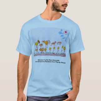 """青いTシャツ""""鶏"""" (前部の写真) Tシャツ"""