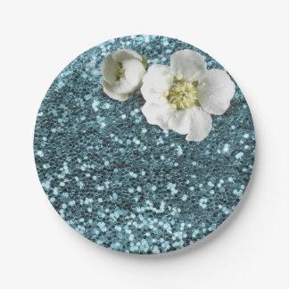 青いTiffanyの花の白いジャスミンのグリッター ペーパープレート