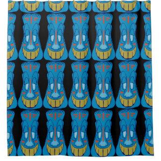 青いTiki シャワーカーテン