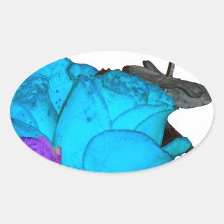 青いvibranceの紫色のvibranceのバラ 楕円形シール