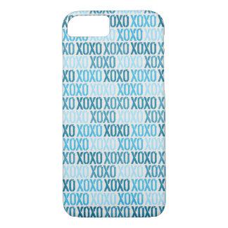 青いXOXOの皮 iPhone 8/7ケース