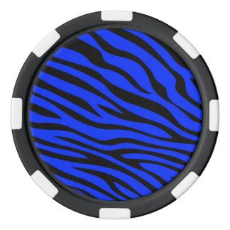 青いZebbraのストライプ ポーカーチップ