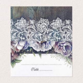 青およびあずき色の素朴な花の結婚式 プレイスカード