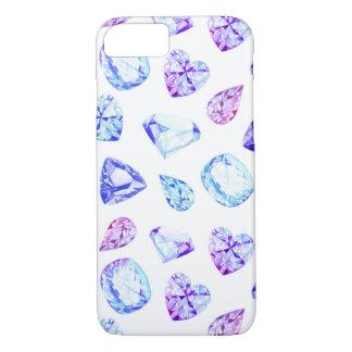 青およびすみれ色のダイヤモンドの水晶の水彩画 iPhone 7ケース