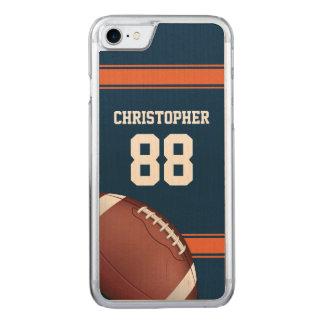 青およびオレンジのストライプなジャージーの格子鉄のフットボール CARVED iPhone 8/7 ケース