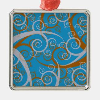 青およびオレンジの渦巻 メタルオーナメント