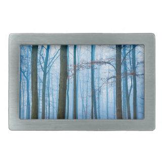 青およびオレンジの霧の魔法の森林 長方形ベルトバックル
