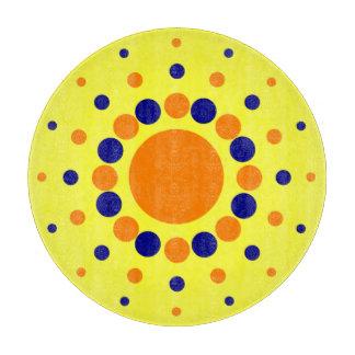 青およびオレンジ円のまな板 カッティングボード
