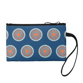 青およびオレンジ曼荼羅の装飾的な円 コインパース