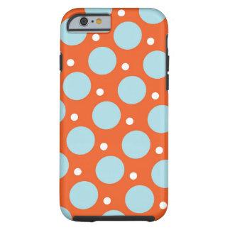 青およびオレンジ水玉模様パターンギフト iPhone 6 タフケース