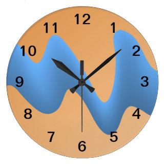 青およびオレンジ波のイメージの設計 ラージ壁時計