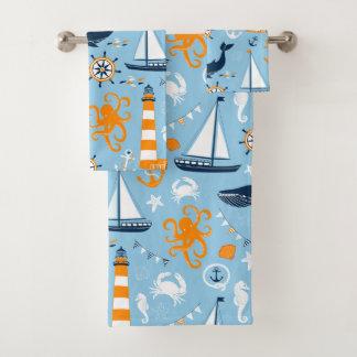 青およびオレンジ航海のな場面パターンII子供 バスタオルセット