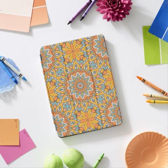 青およびオレンジ花の曼荼羅 iPad PROカバー