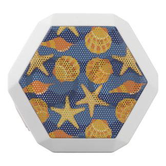 青およびオレンジ貝殻パターン ホワイトBluetoothスピーカー