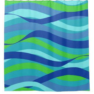 青およびグリーン・ウェーブ シャワーカーテン