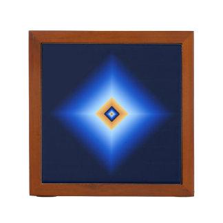 青およびタンのダイヤモンド ペンスタンド