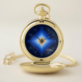 青およびタンのダイヤモンド ポケットウォッチ
