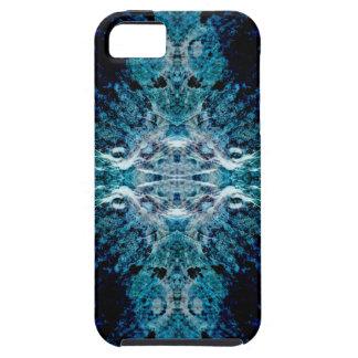 青およびティール(緑がかった色)の抽象芸術。 ある柔らかい端 iPhone SE/5/5s ケース