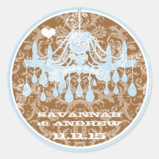 青およびブラウンのヴィンテージのダマスク織のシャンデリアのステッカー ラウンドシール