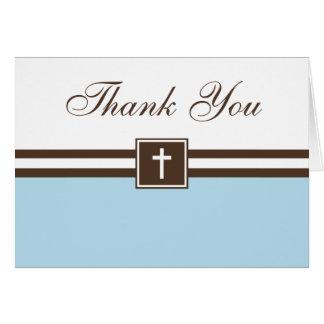 青およびブラウンの十字の男の子の洗礼は感謝していしています カード