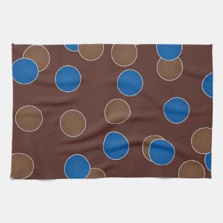 青およびブラウンの球 キッチンタオル