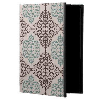 青およびブラウンの装飾用のダマスク織のスタイルパターン POWIS iPad AIR 2 ケース