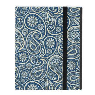 青およびベージュヴィンテージのペイズリーパターン iPad ケース