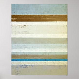 青およびベージュ抽象美術を「発明して下さい」 ポスター