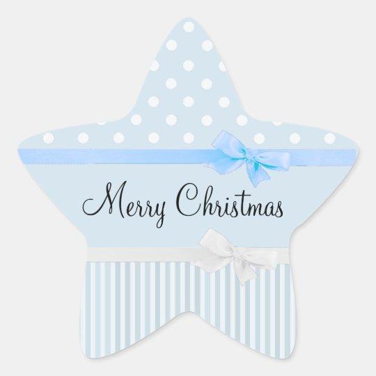 青およびホワイトクリスマスの星形のステッカー 星シール
