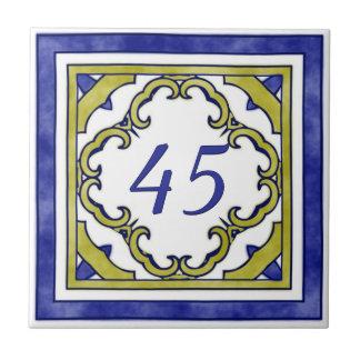 青およびマスタード緑の大きい屋家番号 タイル