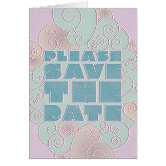 青およびラベンダーの空想は日付Notecardを救います カード