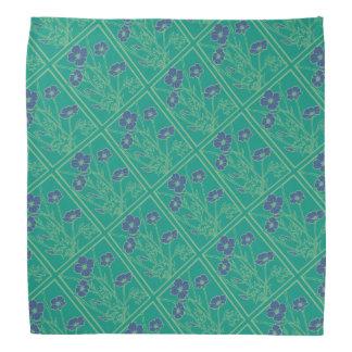 青および暗いティール(緑がかった色)のケシパターンバンダナ バンダナ