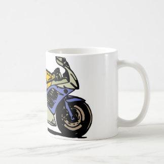 青および灰色のオートバイ コーヒーマグカップ