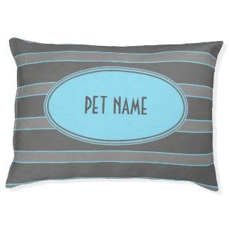 青および灰色のストライプので名前入りな犬のベッド ラージドッグベッド