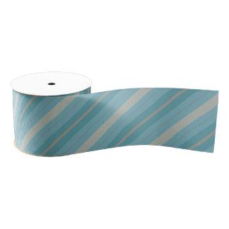 青および灰色のストライプのなリボン グログランリボン