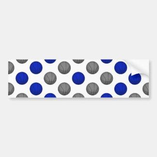 青および灰色のバスケットボールパターン バンパーステッカー