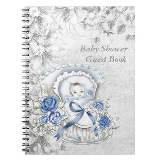 青および灰色のベビーシャワーの来客名簿 ノートブック