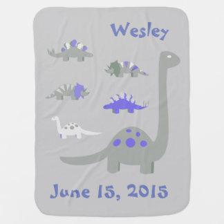 青および灰色の恐竜のベビーブランケット ベビー ブランケット