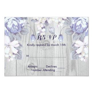 青および灰色の花 8.9 X 12.7 インビテーションカード