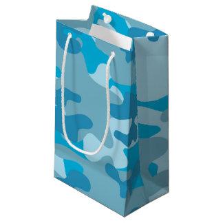 青および灰色の迷彩柄のデザイン スモールペーパーバッグ