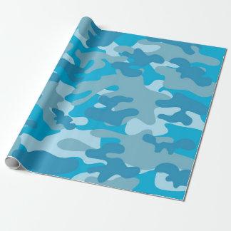青および灰色の迷彩柄のデザイン ラッピングペーパー