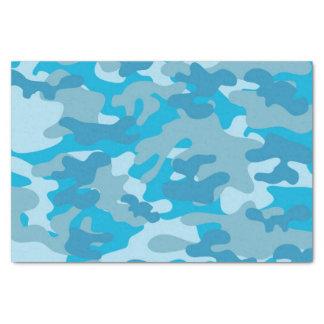青および灰色の迷彩柄のデザイン 薄葉紙