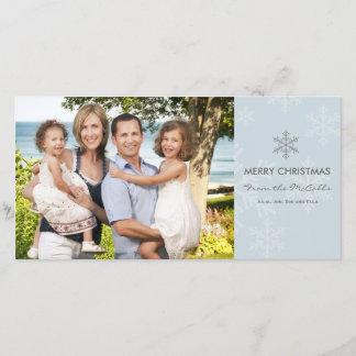 青および灰色の雪片の休日カード クリスマスカード