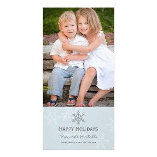 青および灰色の雪片の休日カード 写真カード