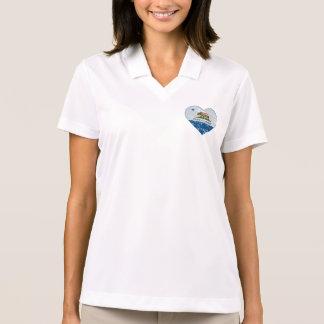 青および灰色カリフォルニア旗共和国のハート ポロシャツ